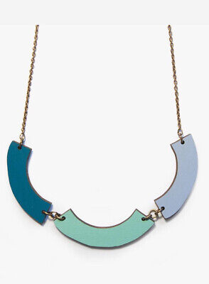 £7.95 • Buy Laser Cut Wooden Green Blue Teal Sea Forest Necklace Long Chain Walnut