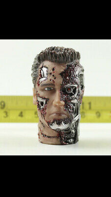 """£30 • Buy 1/6 Scale War Damaged Terminator Head For 12"""" Body Arnold Rare OOP Head T800"""