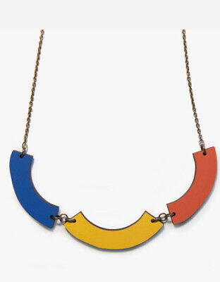 £7.95 • Buy Laser Cut Wooden Yellow Red Blue Teal Sea Forest Necklace Long Chain Walnut