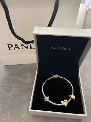 AU145 • Buy Pandora Silver Bracelet 17cm And Rose Gold Heart Clasp With Charms Express Post