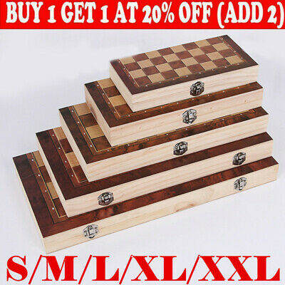 £8.99 • Buy New Large Chess Wooden Set Folding UK Game Board Wood Pieces Chessboard HOT