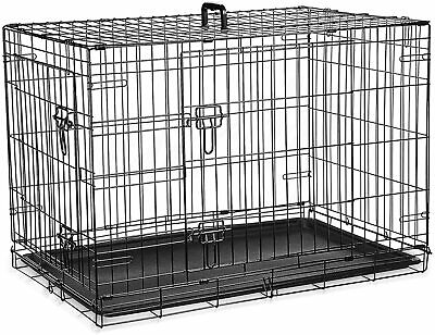 £107.85 • Buy 36inch Dog Cage Crate– Double Door Pet Black Metal Folding With Large