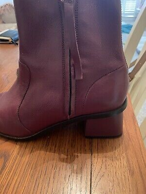 £3.70 • Buy Burgundy Leather Boots  Size 8