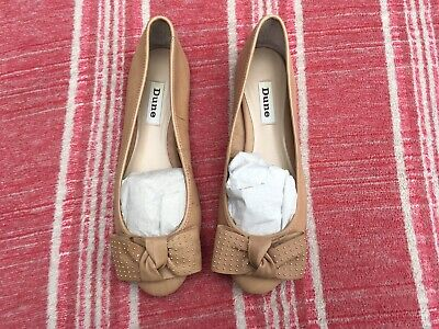 £10 • Buy Dune Ballet Pumps With Bow Detail, Size 39/6, Excellent Condition, Tan