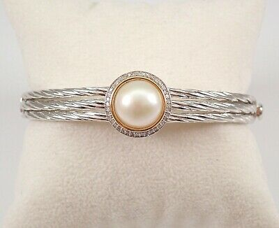 $299 • Buy Mabe Pearl And Diamond Halo Braided Bangle Bracelet Sterling Silver And 14K Gold