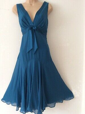 £13 • Buy TED BAKER 3 Uk 12 Beautiful Peacock Blue Silk Vintage Style Occasion Dress