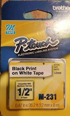 $6.99 • Buy Brother P-Touch M-231 Tape Labels 1/2  X 26.2' Black Print On White Tape 12MM