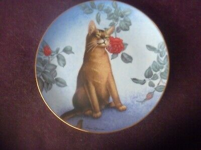 £7.10 • Buy Cat Plate Cheek Of Araby Cats And Flowers Series By Irene Spencer Danbury Mint