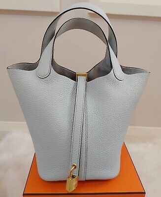 AU6400 • Buy Authentic Hermes Picotin 18 Bag Blue Pale GHWClemence Like New Receipt Full Set