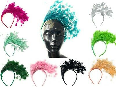 £12.99 • Buy Full Feather Large Fascinator On Headband For Weddings And Races Alice Hair Band
