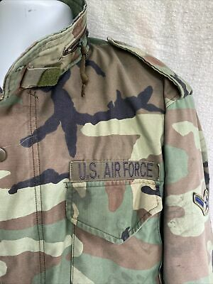 $40 • Buy Vtg Air Force Field Jacket Woodland Camo Large Long Very Distressed Holes Dirt