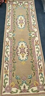 £49.99 • Buy Traditional Aubusson Floral 100% Wool Hand Tufted Chinese Rug Runner - 67x210cm