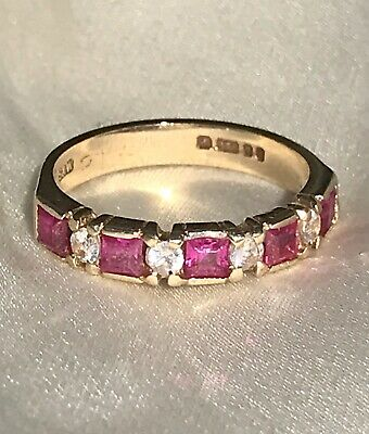 £65 • Buy 9ct Gold Ring Princess Cut Ruby And Round CZ Eternity Style Vintage J 1/2