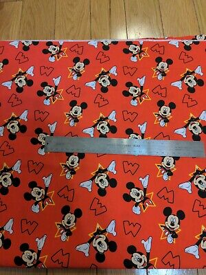 $9.99 • Buy Fun Mickey Mouse And Stars Cameo & M Logo 100% Cotton Fabric 1 Yard Brand New