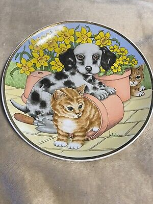 """£8 • Buy Collectable Decorative Plate Dalmatian Puppy With Ginger Cats In Flower Pots 7"""""""