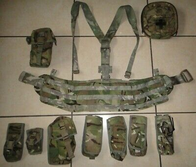 £58.95 • Buy Genuine British Army MTP Virtus Chassis Molle Hip Belt Yoke + 9 Pouch Small #347