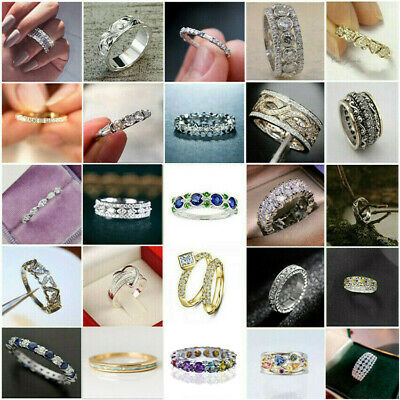 £2.77 • Buy Gorgeous Women 925 Silver Ring White Sapphire Wedding Band Jewelry Hot Size 5-11
