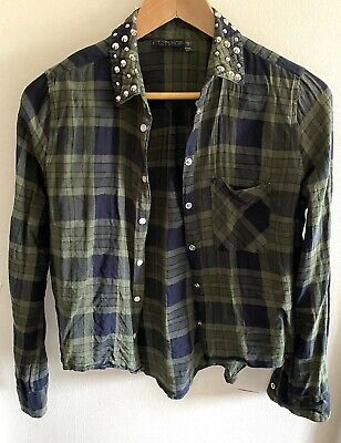 £3.99 • Buy Topshop Size 12 Green Check Studded Shirt Top