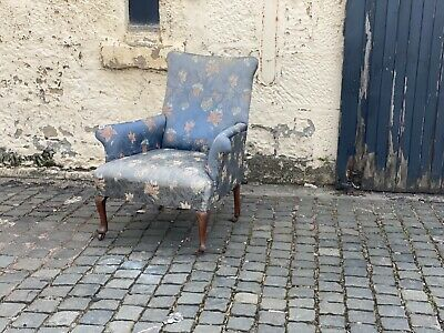 £325 • Buy Late Victorian Antique Elegant Armchair In Blue Floral Upholstered Fabric