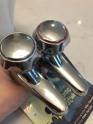 £6 • Buy Two Used Basin PillarTaps Set Individual Hot And Cold Taps