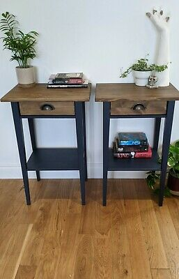 £110 • Buy 2 Real Wood Ikea Bedside Tables In Night's Blue Arch And Rustic Oak
