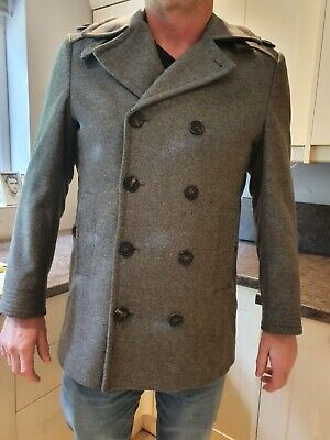£30 • Buy Mens Ted Baker  Double Breasted Wool Pea Coat Jacket Grey Size 4.