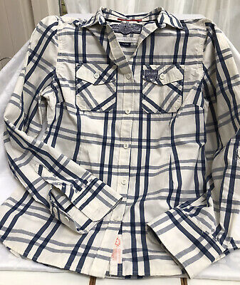 £5.99 • Buy Superdry Long Sleeve BOYS Shirt Blue And White Checked, Size Large 12-16 Years