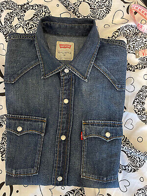 £14.88 • Buy Levi Strauss Vintage Mens Denim Pearl Snap Long Sleeve Shirt Mid Wash Excellent