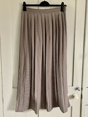 £8.99 • Buy REISS Sienne Maxi Skirt Size 12 Stripe Pleated Silky Smart Summer Holiday Office