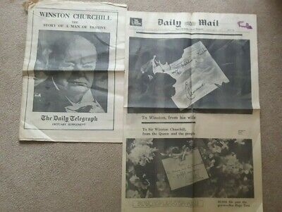 £9.99 • Buy OLD VINTAGE ORIG 1960s NEWSPAPER  WINSTON CHURCHILL DEATH DAILY MAIL & TELEGRAPH
