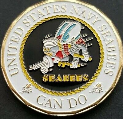 £5.49 • Buy U.S NAVY SEABEE'S CAN DO Challenge Coin FREE COIN STAND AND BRAND NEW FITTED COI