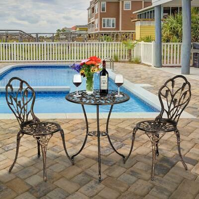£108.99 • Buy 3pcs Bistro Set Cast Aluminium Outdoor Garden Patio Dining Table And Chairs Set