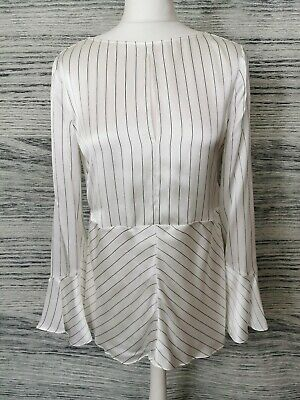 AU36.90 • Buy Massimo Dutti White Pinstripe Mulberry Silk Bell Sleeve Blouse Size 10