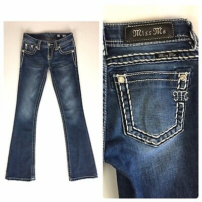 £10.79 • Buy Miss Me Signature Boot Jeans Size 24 Low Rise Dark Wash