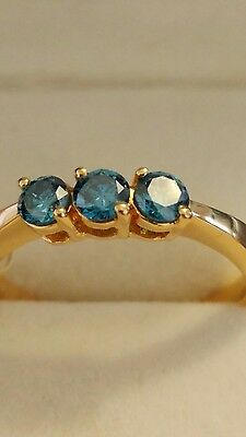 £350 • Buy Iliana 18ct Gold Blue Teal Ring Size O1/2, 3.6g
