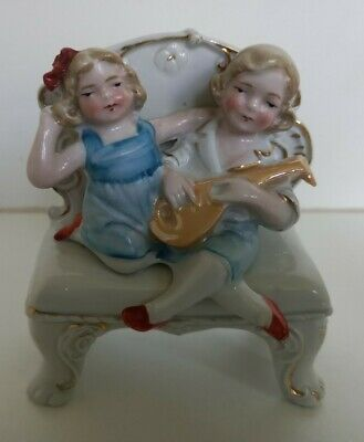£8 • Buy Antique German Fairing Number 5061~two Children On A Seat Playing A Mandolin