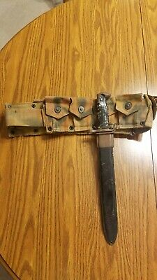 $225 • Buy RARE WW2 1942 US Army Camouflage M1 Garand Ammo Belt With Bayonet Attached