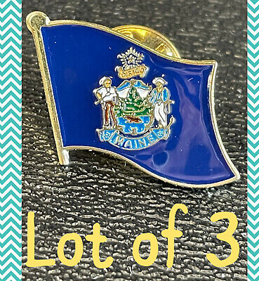 $9.99 • Buy Lot Of 3 MAINE HAT LAPEL FLAG PIN  - NEW