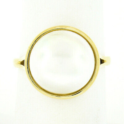 $351.12 • Buy Classic 14K Yellow Gold 12.75mm Bezel Mabe Pearl Solitaire Simple Polished Ring