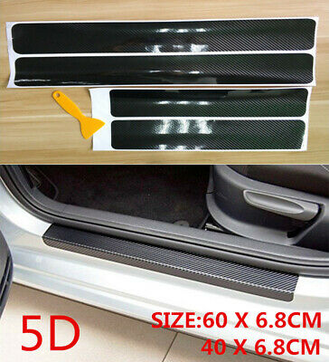 $11.43 • Buy 4PCS Black Rubber Car Door Scuff Sill Cover Panel Step Protector Auto Stickers