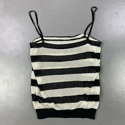 £39.98 • Buy Black White Silver Shiny Striped Strap Top Casual Emo Grunge Cute Summer •