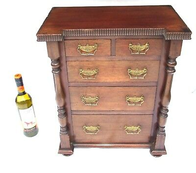 £345 • Buy Antique Miniature Mahogany Table Top Chest Apprentice Piece Collector Cabinet