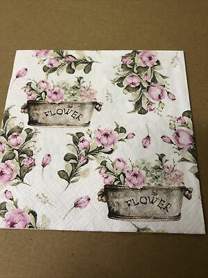 £2 • Buy 4 Shabby Chic Decoupage Napkins Vintage French Peony Flowers In Ornate Planters