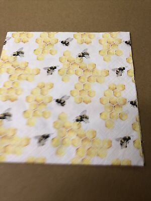 £2 • Buy 4 Shabby Chic Decoupage Napkins Vintage French Bee & Honeycomb