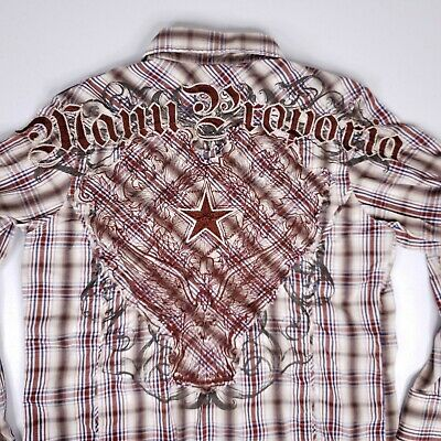 $22.85 • Buy Manchester Snap Button Western Shirt Plaid Mens M Red Embroidered Affliction