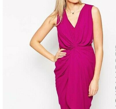 AU30 • Buy RRP$67 New With Tag ASOS Maternity Twist Front Pink Magenta Pencil Dress Size 14
