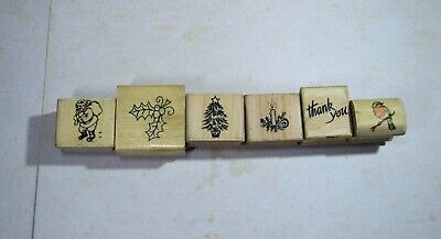 £3.50 • Buy Wooden Rubber Stamp Set Of Six Christmas Stamps Used Condition
