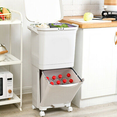 £33.95 • Buy Large Recycle Bins Food 2 Stackable Waste Recycling Lids Kitchen Garden Dustbin