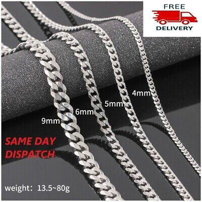 £4.99 • Buy Mens Boys Curb Chain Stainless Steel Silver 4mm-9mm Cuban Necklace Men 20 -26