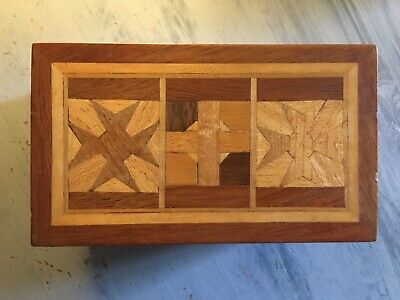 £25 • Buy Vintage Wooden Marquetry Box, Detailed, Hand Carved, Versatile Use